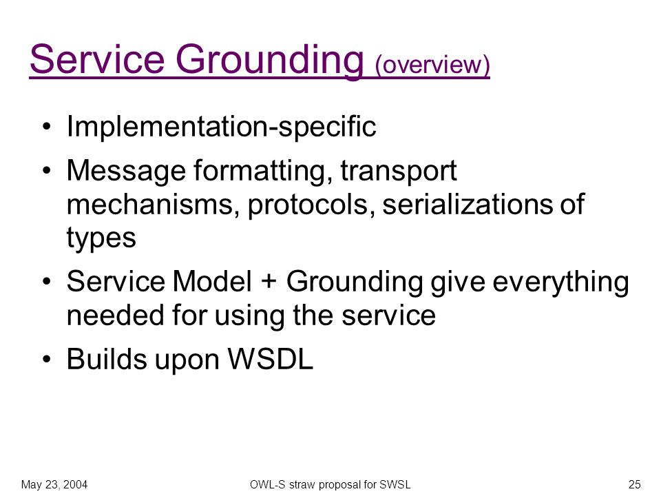 May 23, 2004OWL-S straw proposal for SWSL25 Service Grounding (overview) Implementation-specific Message formatting, transport mechanisms, protocols,