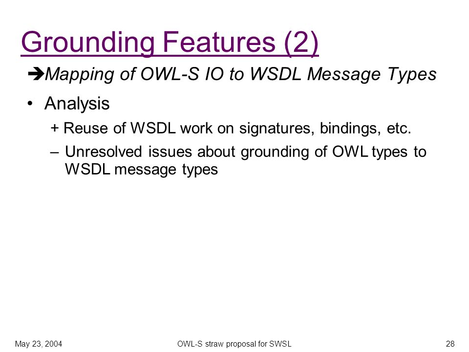 May 23, 2004OWL-S straw proposal for SWSL28 Mapping of OWL-S IO to WSDL Message Types Analysis + Reuse of WSDL work on signatures, bindings, etc. –Unr