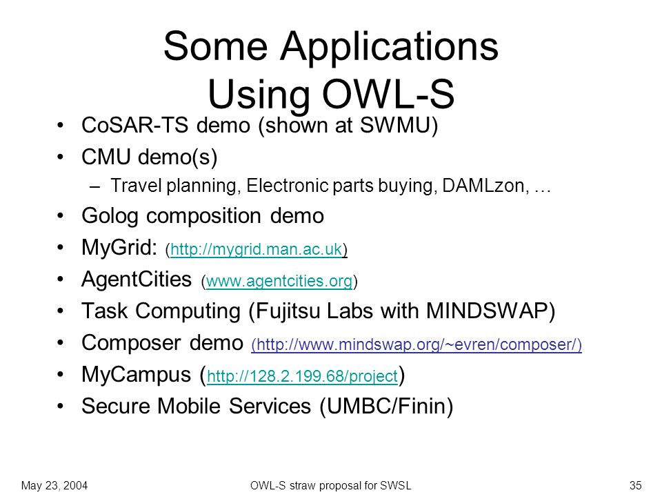 May 23, 2004OWL-S straw proposal for SWSL35 Some Applications Using OWL-S CoSAR-TS demo (shown at SWMU) CMU demo(s) –Travel planning, Electronic parts buying, DAMLzon, … Golog composition demo MyGrid: (  AgentCities (  Task Computing (Fujitsu Labs with MINDSWAP) Composer demo (  MyCampus (   )   Secure Mobile Services (UMBC/Finin)