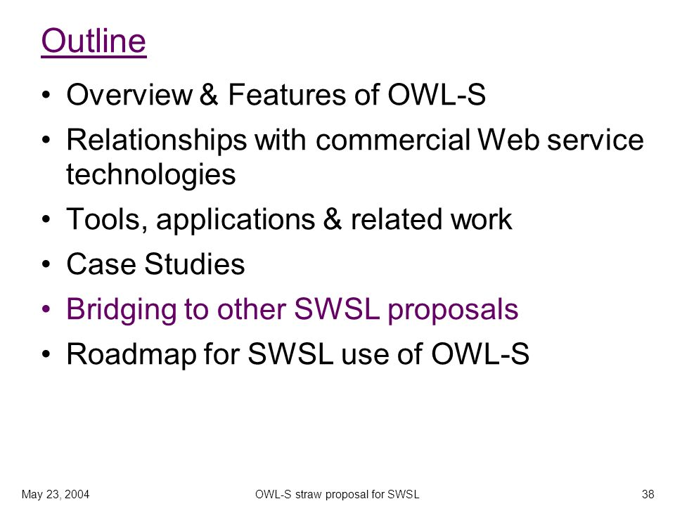 May 23, 2004OWL-S straw proposal for SWSL38 Outline Overview & Features of OWL-S Relationships with commercial Web service technologies Tools, applications & related work Case Studies Bridging to other SWSL proposals Roadmap for SWSL use of OWL-S