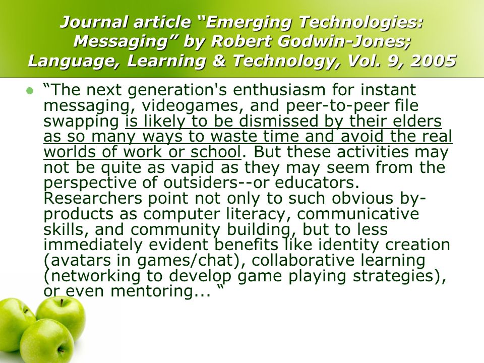 Journal article Emerging Technologies: Messaging by Robert Godwin-Jones; Language, Learning & Technology, Vol.