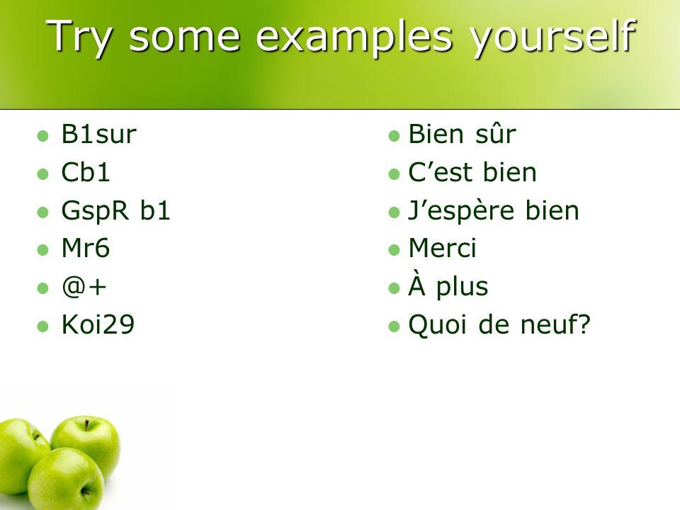 Try some examples yourself B1sur Cb1 GspR b1 Mr6 @+ Koi29 Bien sûr Cest bien Jespère bien Merci À plus Quoi de neuf?
