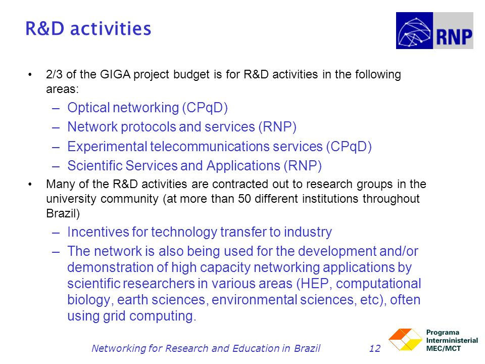 Networking for Research and Education in Brazil12 R&D activities 2/3 of the GIGA project budget is for R&D activities in the following areas: –Optical