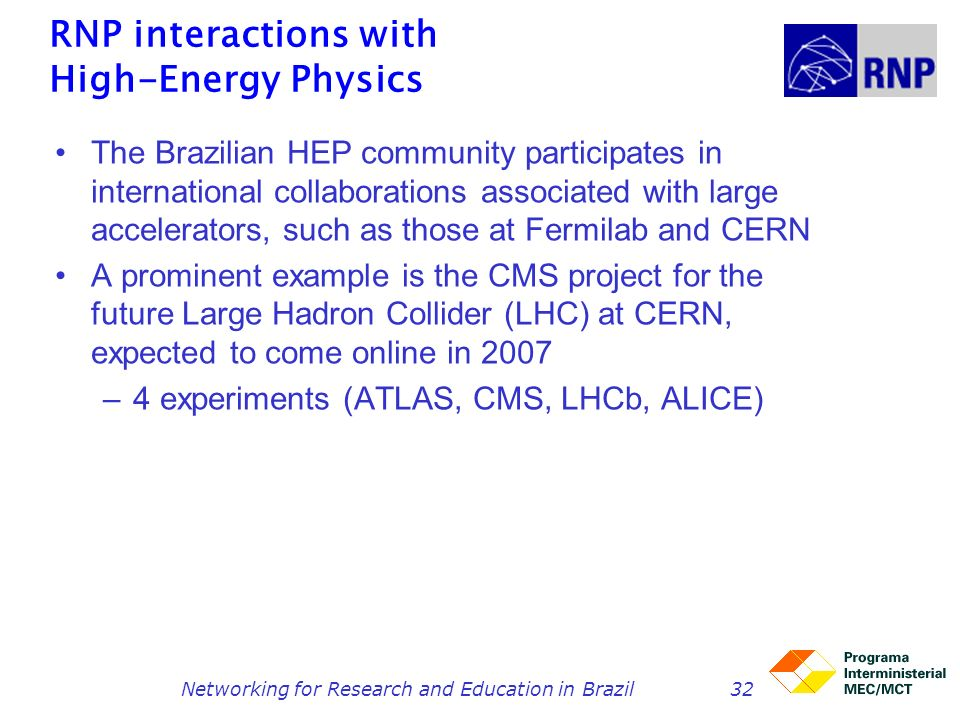 Networking for Research and Education in Brazil32 RNP interactions with High-Energy Physics The Brazilian HEP community participates in international