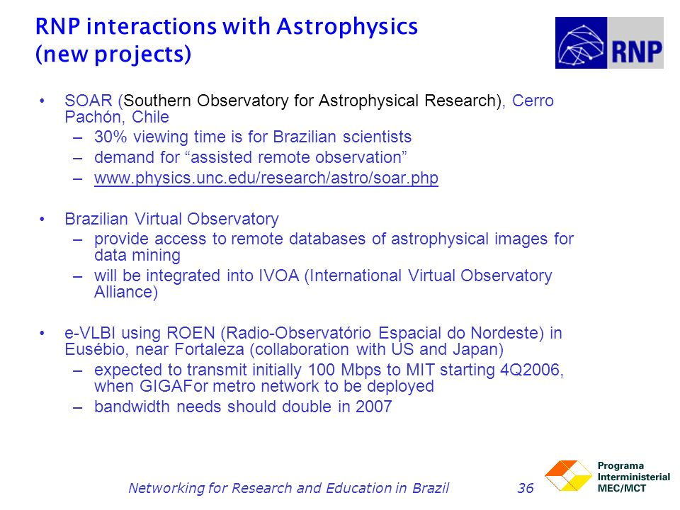 Networking for Research and Education in Brazil36 RNP interactions with Astrophysics (new projects) SOAR (Southern Observatory for Astrophysical Resea