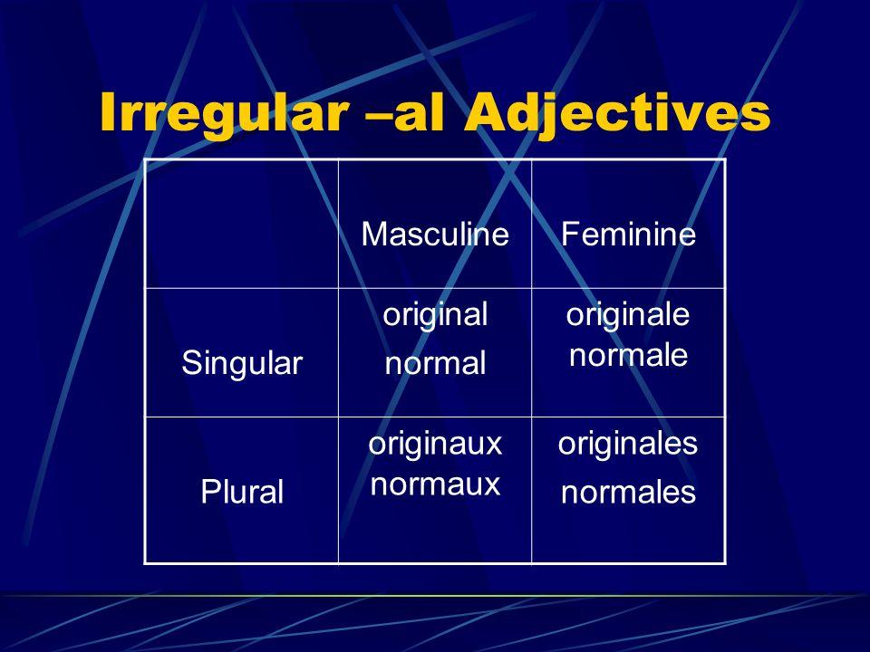 Irregular –al Adjectives MasculineFeminine Singular original normal originale normale Plural originaux normaux originales normales