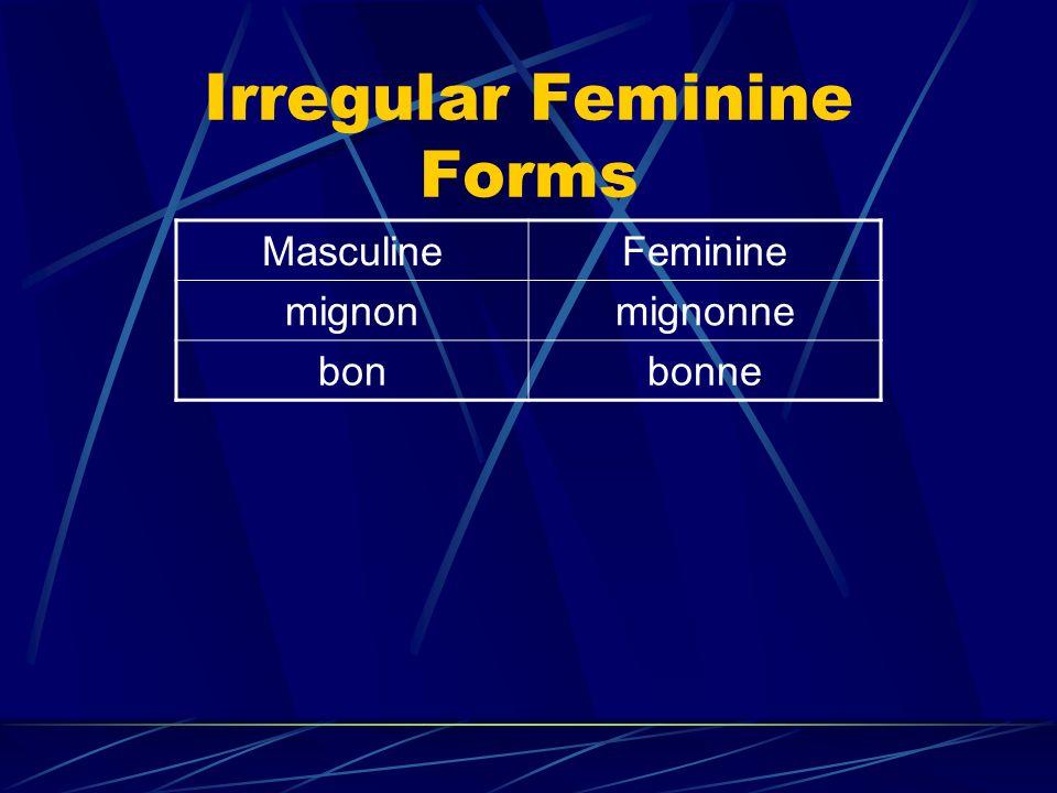 Irregular Feminine Forms MasculineFeminine mignonmignonne bonbonne