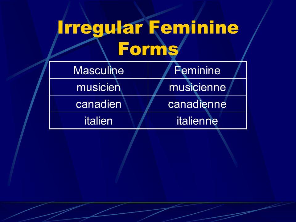 Irregular Feminine Forms MasculineFeminine musicienmusicienne canadiencanadienne italienitalienne