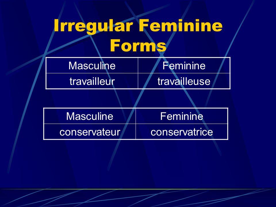 Irregular Feminine Forms MasculineFeminine travailleurtravailleuse MasculineFeminine conservateurconservatrice