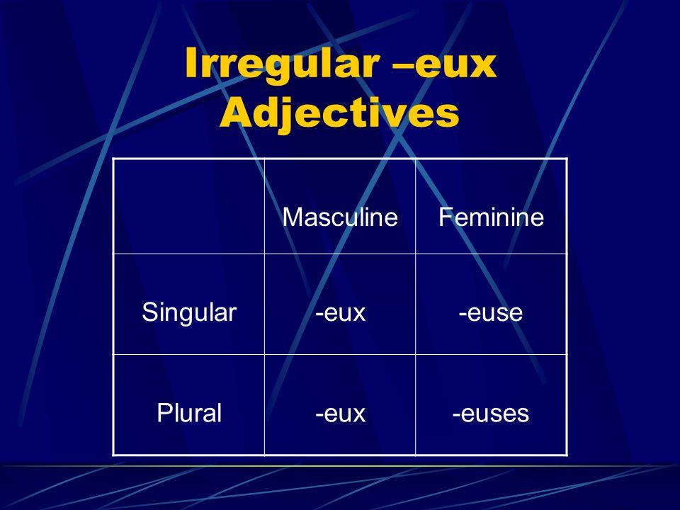 Irregular –eux Adjectives MasculineFeminine Singular-eux-euse Plural-eux-euses