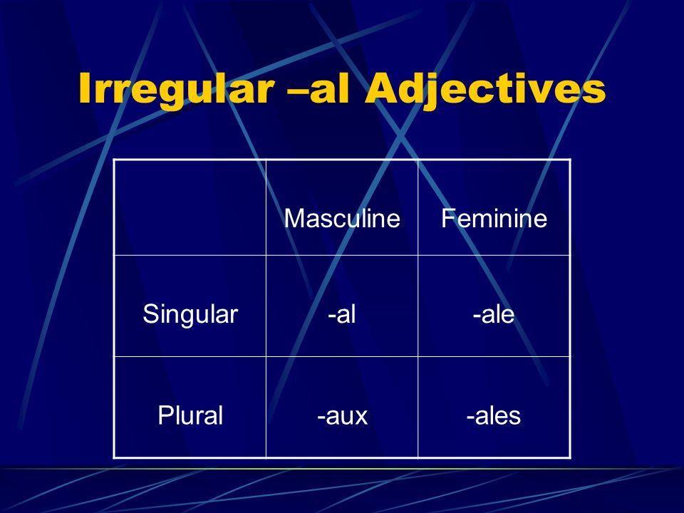 Irregular –al Adjectives MasculineFeminine Singular-al-ale Plural-aux-ales