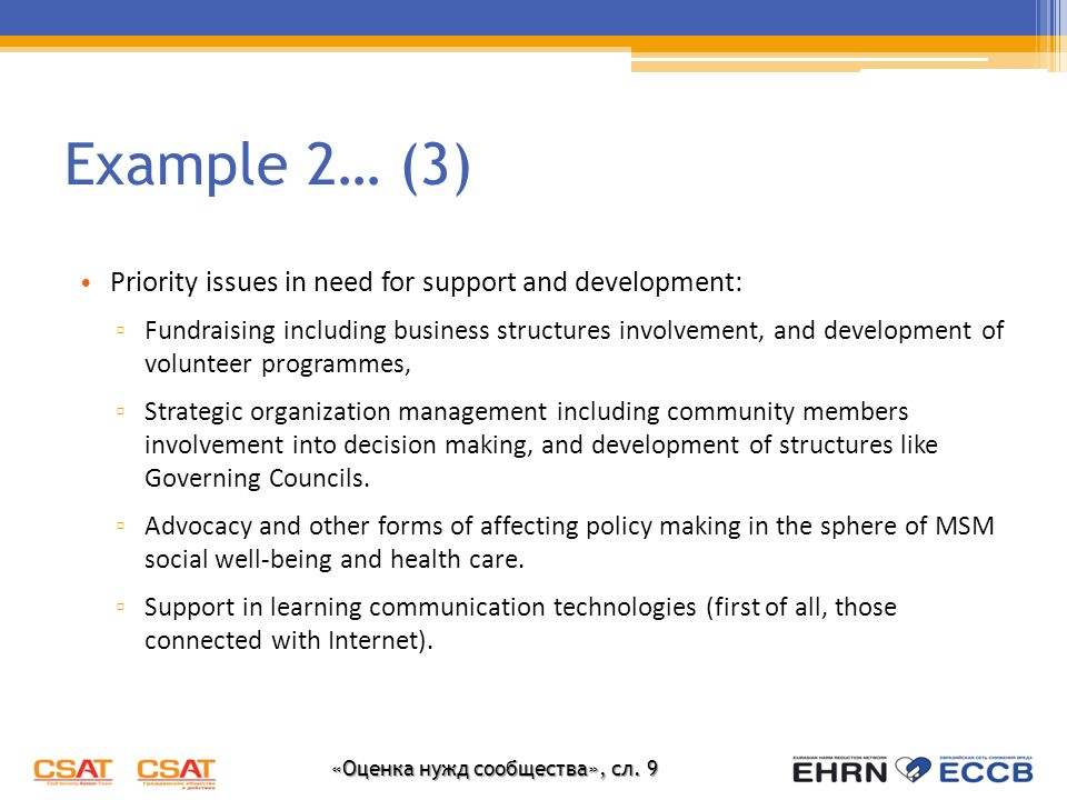 «Оценка нужд сообщества», сл. 9 Example 2… (3) Priority issues in need for support and development: Fundraising including business structures involvem