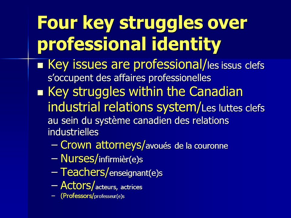Four key struggles over professional identity Key issues are professional/ les issus clefs soccupent des affaires professionelles Key issues are profe