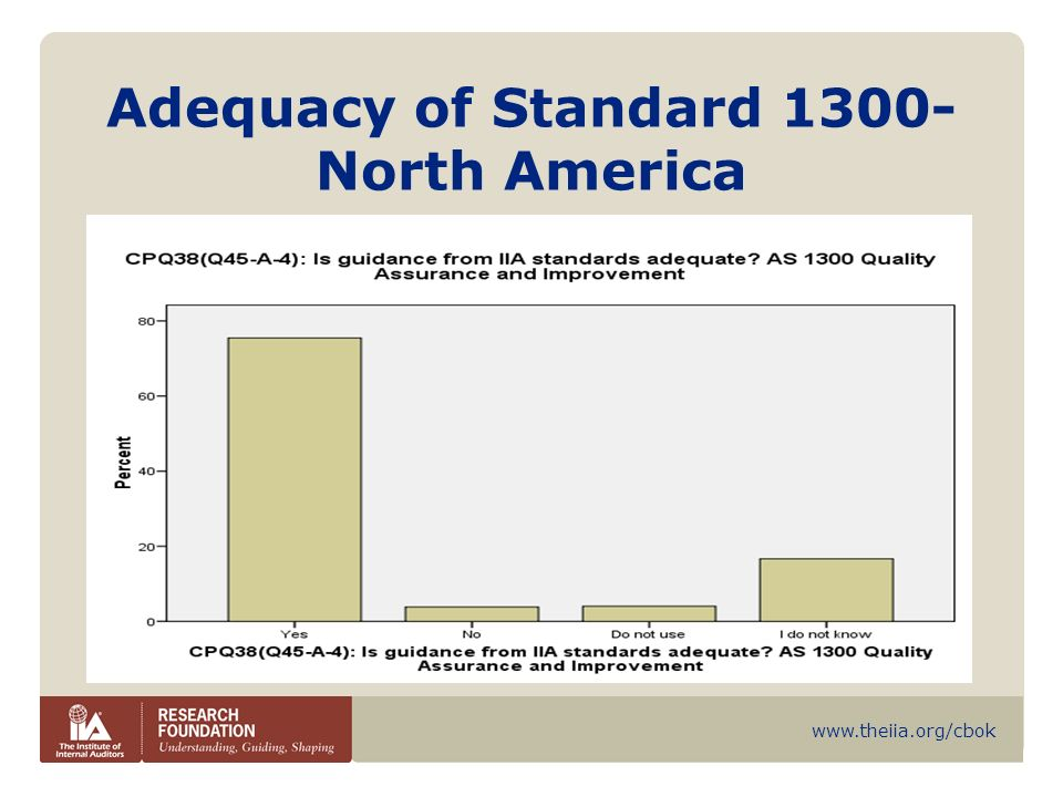 www.theiia.org/cbok Compliance with Standard 1300 – North America