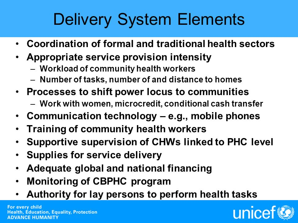 Delivery System Elements Coordination of formal and traditional health sectors Appropriate service provision intensity –Workload of community health w