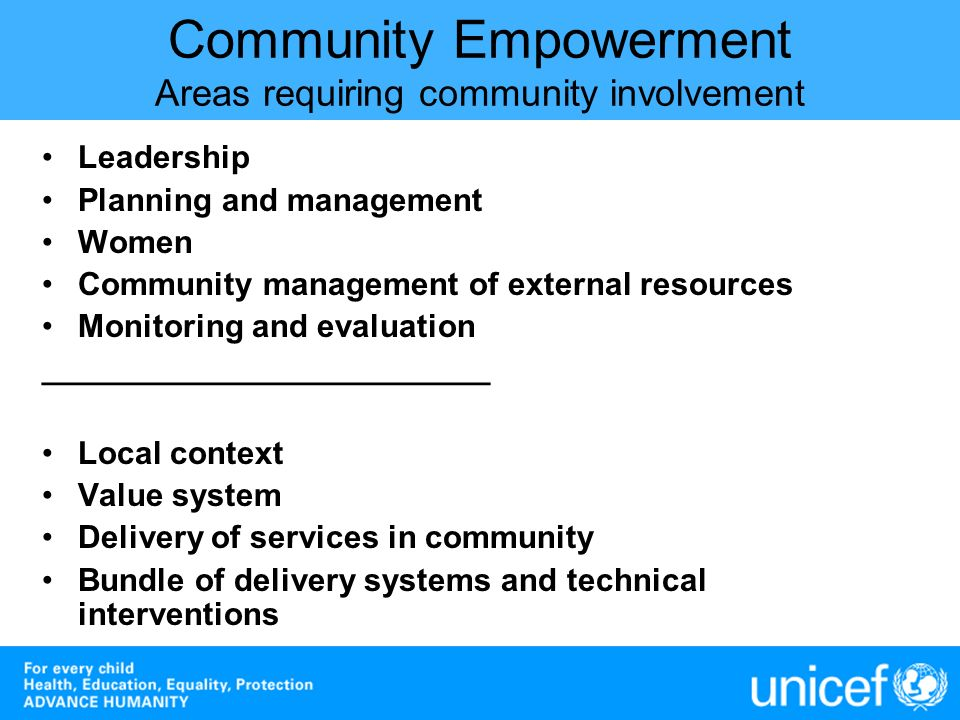 Community Empowerment Areas requiring community involvement Leadership Planning and management Women Community management of external resources Monito