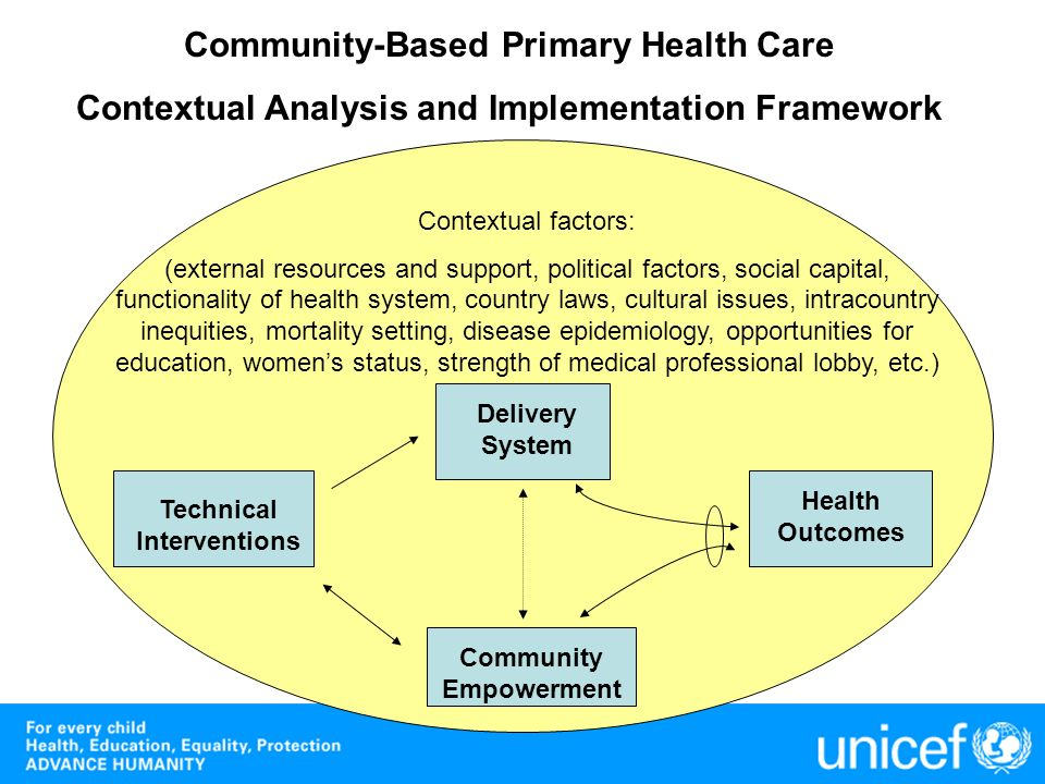 Technical Interventions Delivery System Health Outcomes Community Empowerment Community-Based Primary Health Care Contextual Analysis and Implementati