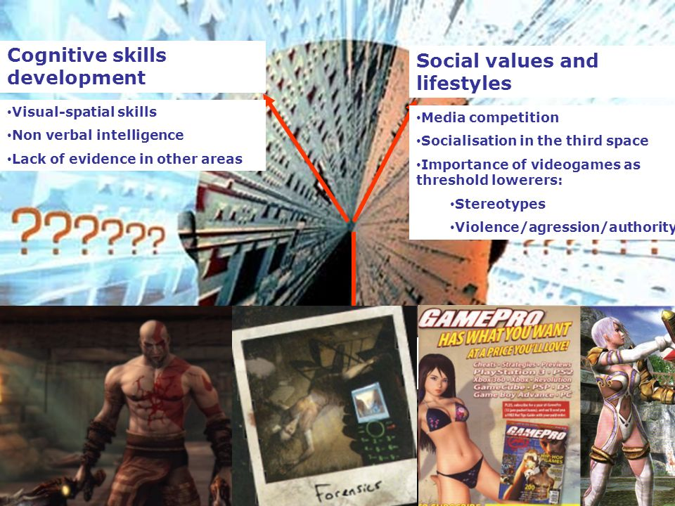 12 Cognitive skills development Social values and lifestyles Educational achievement Visual-spatial skills Non verbal intelligence Lack of evidence in other areas Media competition Socialisation in the third space Importance of videogames as threshold lowerers: Stereotypes Violence/agression/authority