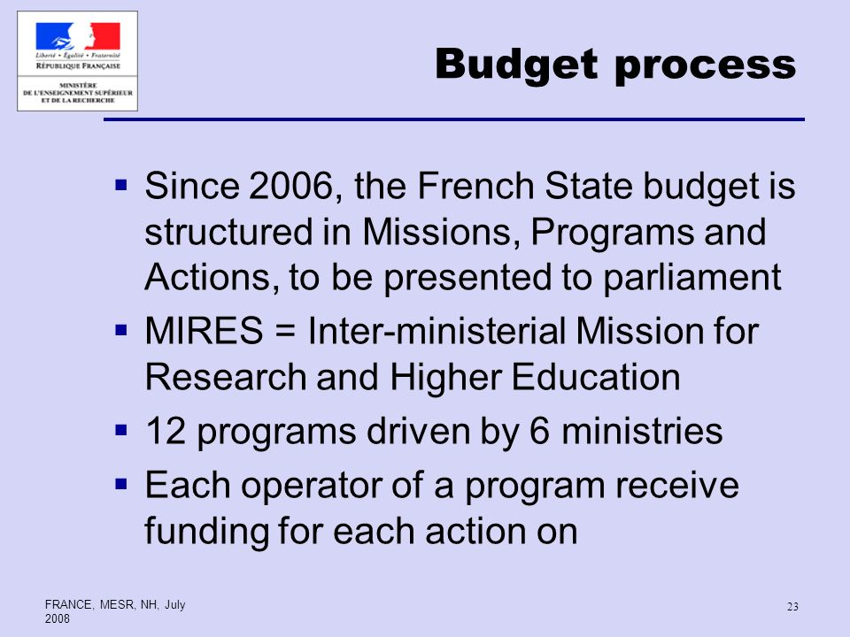 FRANCE, MESR, NH, July Budget process Since 2006, the French State budget is structured in Missions, Programs and Actions, to be presented to parliament MIRES = Inter-ministerial Mission for Research and Higher Education 12 programs driven by 6 ministries Each operator of a program receive funding for each action on