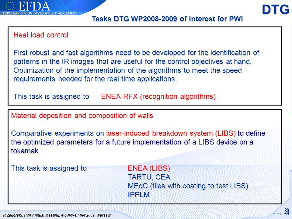 20 of ? slides R.Zagórski, PWI Annual Meeting, 4-6 November 2009, Warsaw Heat load control First robust and fast algorithms need to be developed for t