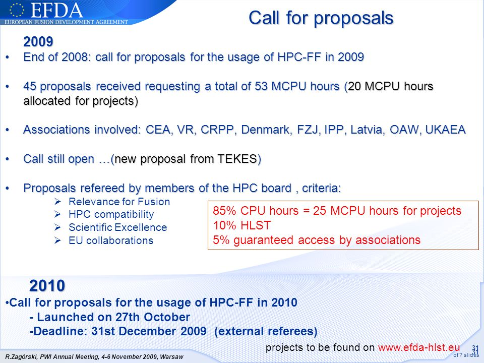 31 of ? slides R.Zagórski, PWI Annual Meeting, 4-6 November 2009, Warsaw Call for proposals 2009 End of 2008: call for proposals for the usage of HPC-