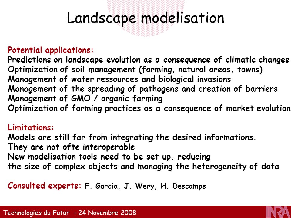 Technologies du Futur - 24 Novembre 2008 Landscape modelisation Potential applications: Predictions on landscape evolution as a consequence of climati