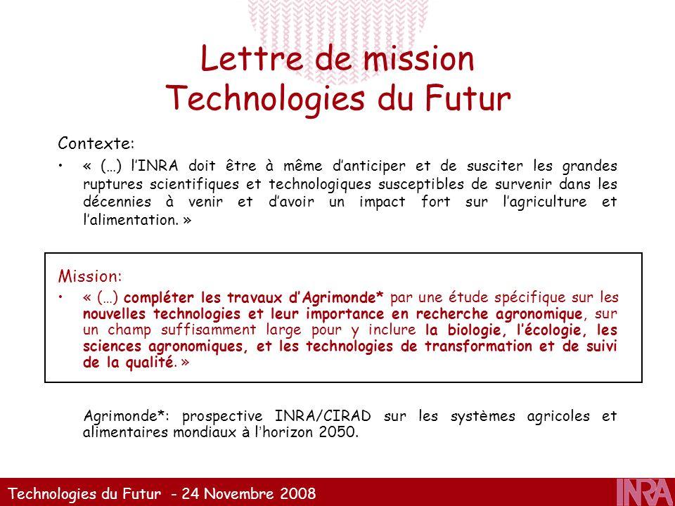 Technologies du Futur - 24 Novembre 2008 Lettre de mission Technologies du Futur Contexte: « (…) lINRA doit être à même danticiper et de susciter les