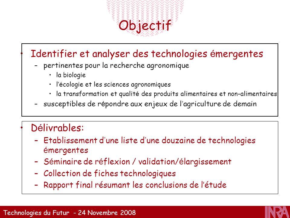Technologies du Futur - 24 Novembre 2008 Objectif Identifier et analyser des technologies é mergentes –pertinentes pour la recherche agronomique la bi