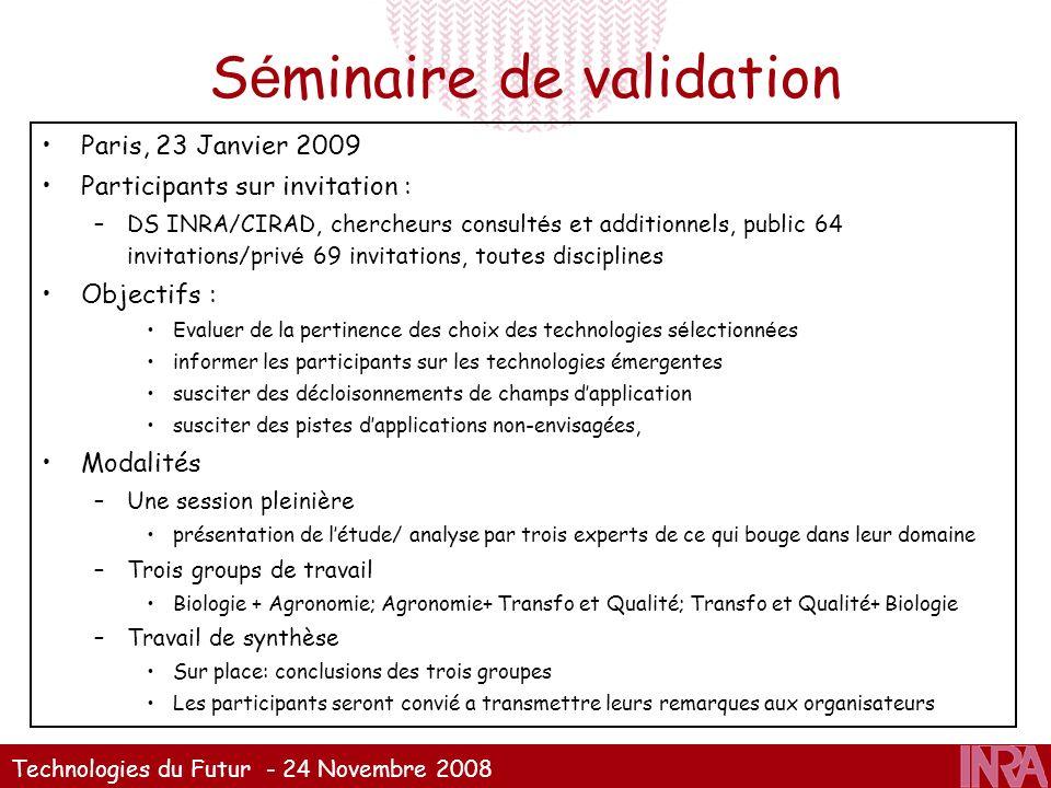 Technologies du Futur - 24 Novembre 2008 S é minaire de validation Paris, 23 Janvier 2009 Participants sur invitation : –DS INRA/CIRAD, chercheurs con