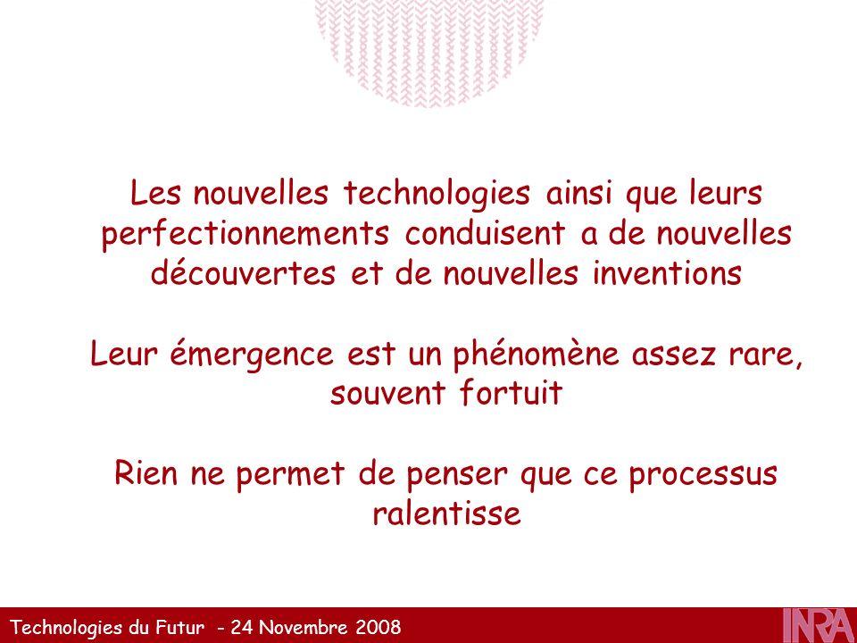 Technologies du Futur - 24 Novembre 2008 Les nouvelles technologies ainsi que leurs perfectionnements conduisent a de nouvelles découvertes et de nouv