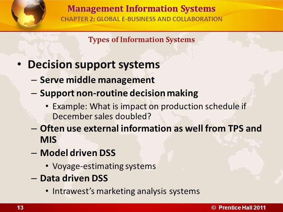 Management Information Systems CHAPTER 2: GLOBAL E-BUSINESS AND COLLABORATION Decision support systems – Serve middle management – Support non-routine