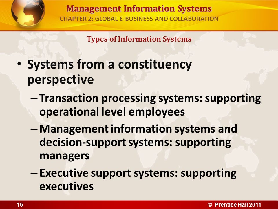 Management Information Systems CHAPTER 2: GLOBAL E-BUSINESS AND COLLABORATION Systems from a constituency perspective – Transaction processing systems