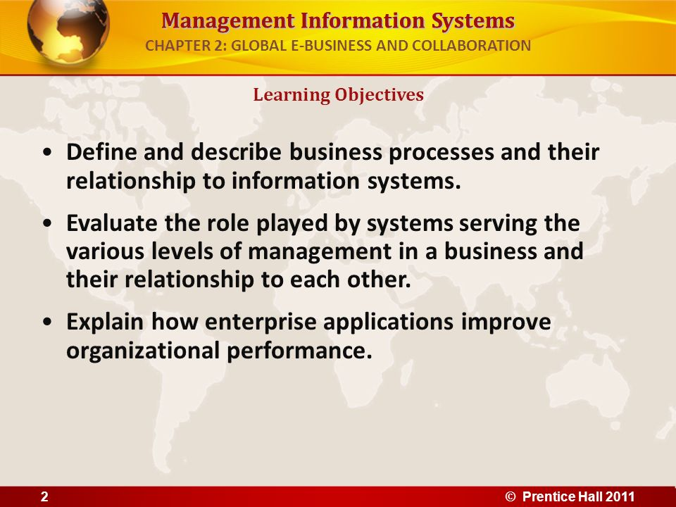 Management Information Systems CHAPTER 2: GLOBAL E-BUSINESS AND COLLABORATION Define and describe business processes and their relationship to informa