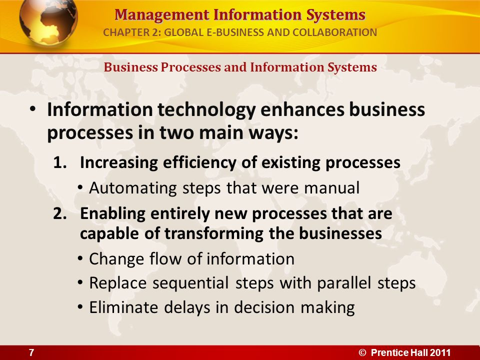 Management Information Systems CHAPTER 2: GLOBAL E-BUSINESS AND COLLABORATION Information technology enhances business processes in two main ways: 1.I