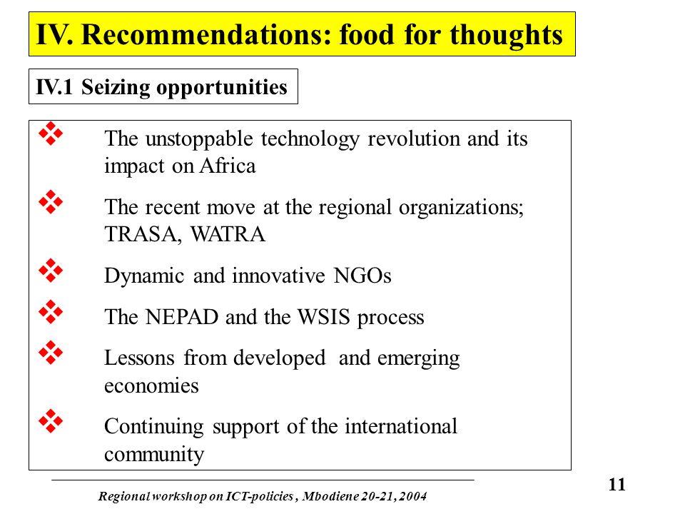 Regional workshop on ICT-policies, Mbodiene 20-21, 2004 11 IV.