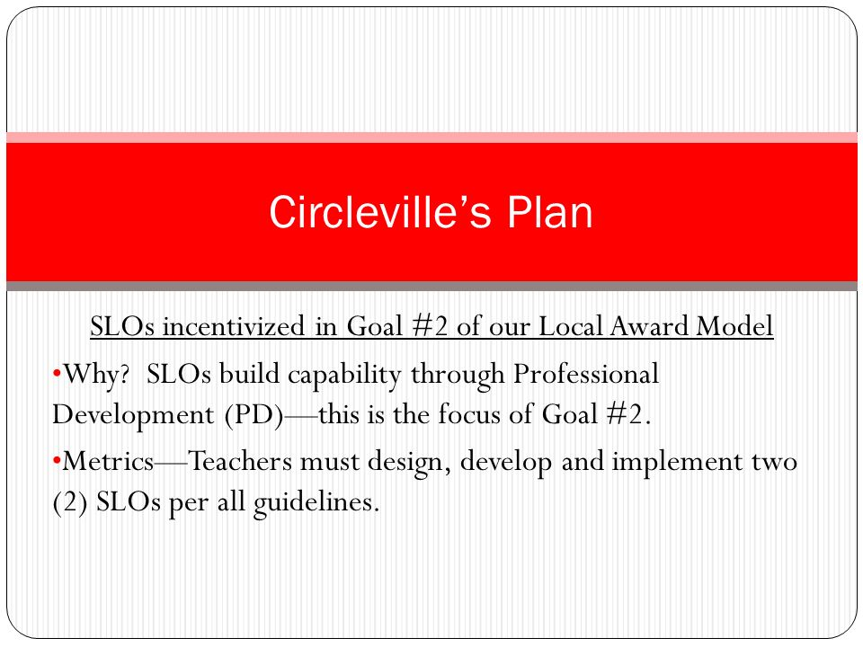 SLOs incentivized in Goal #2 of our Local Award Model FocusAll teachers are eligible; we target non-VA teachers b/c they currently have nothing to populate the Student- Growth side of OTES.