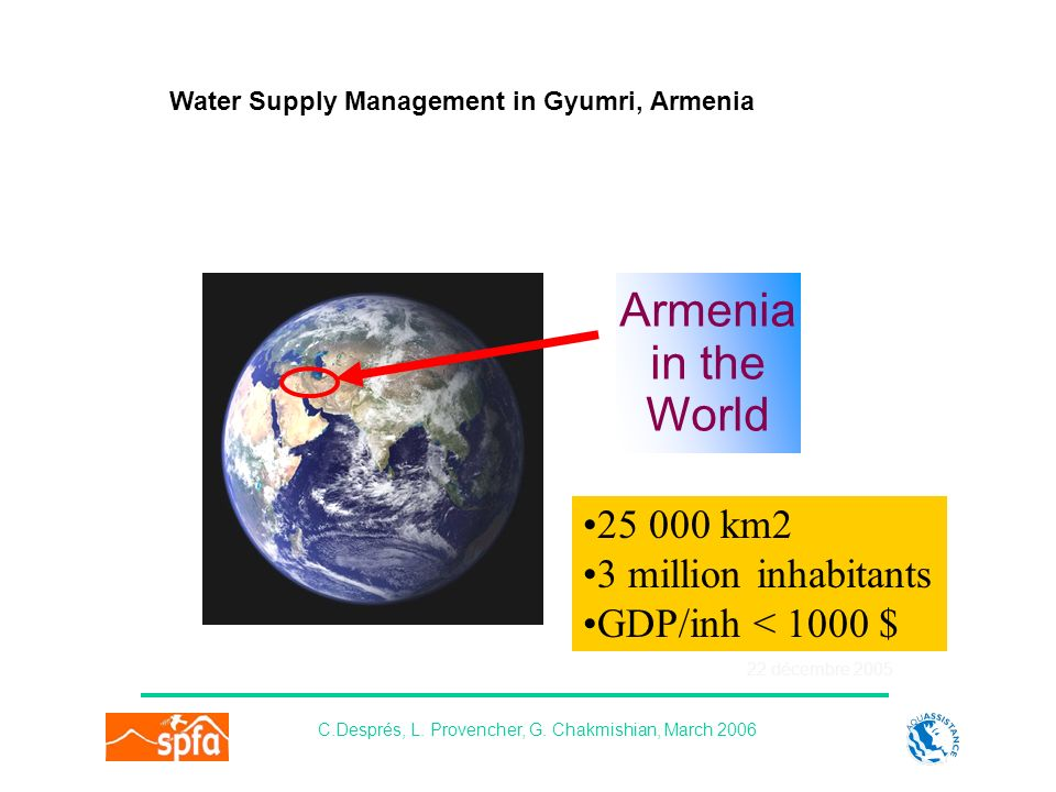 22 décembre 2005 Water Supply Management in Gyumri, Armenia C.Després, L. Provencher, G. Chakmishian, March 2006 Armenia in the World 25 000 km2 3 mil