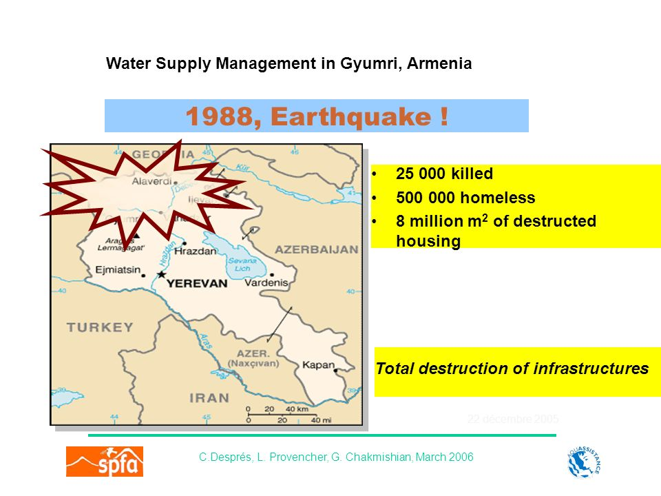 22 décembre 2005 Water Supply Management in Gyumri, Armenia C.Després, L.
