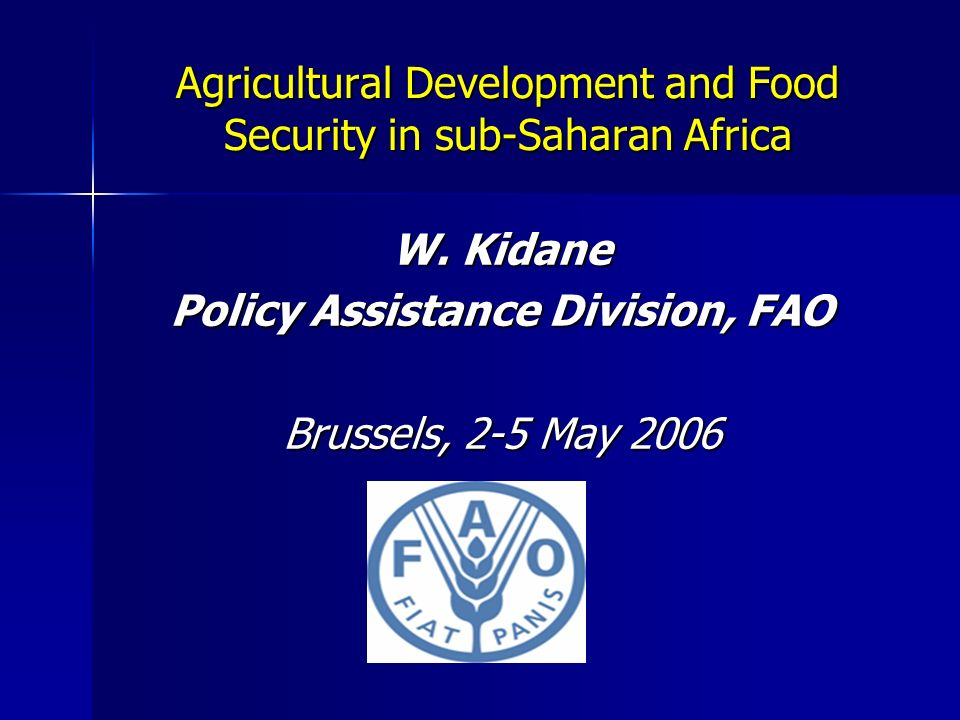 Agricultural Development and Food Security in sub-Saharan Africa W. Kidane Policy Assistance Division, FAO Brussels, 2-5 May 2006