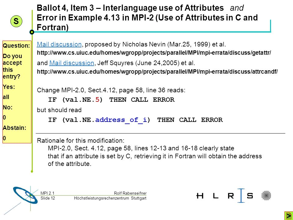 Höchstleistungsrechenzentrum Stuttgart Rolf RabenseifnerMPI 2.1 Slide 12 Ballot 4, Item 3 – Interlanguage use of Attributes and Error in Example 4.13