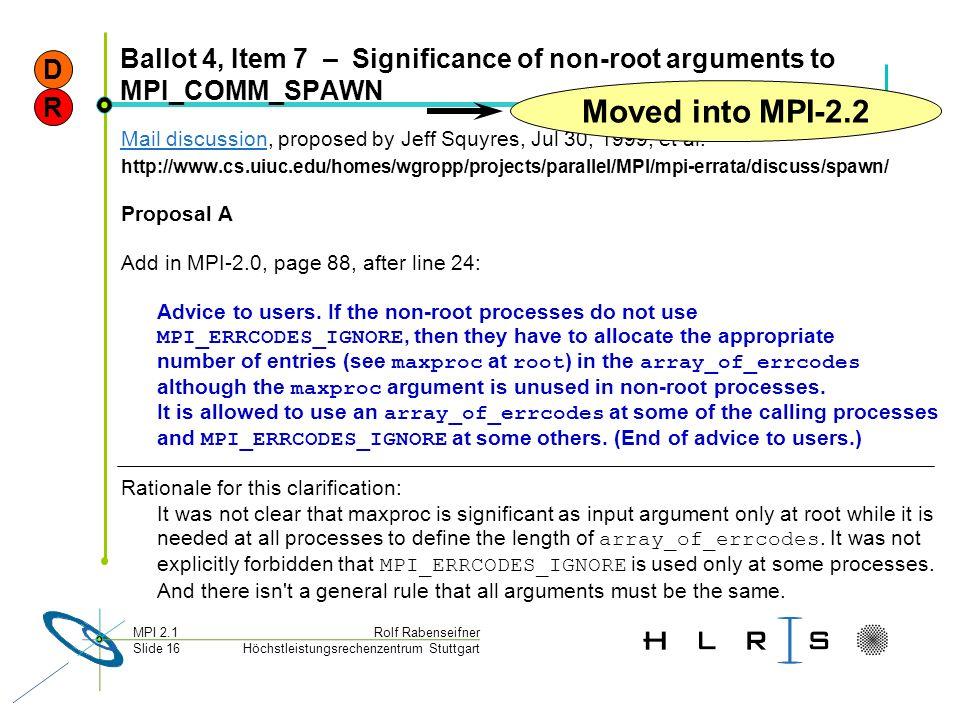 Höchstleistungsrechenzentrum Stuttgart Rolf RabenseifnerMPI 2.1 Slide 16 Ballot 4, Item 7 – Significance of non-root arguments to MPI_COMM_SPAWN Mail