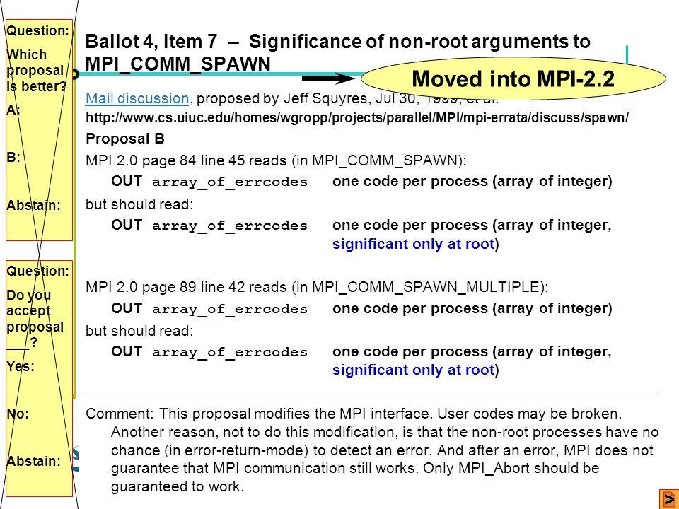 Höchstleistungsrechenzentrum Stuttgart Rolf RabenseifnerMPI 2.1 Slide 17 Ballot 4, Item 7 – Significance of non-root arguments to MPI_COMM_SPAWN Mail