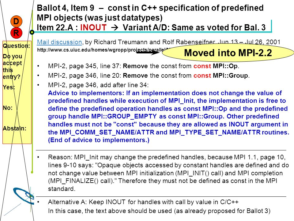 Höchstleistungsrechenzentrum Stuttgart Rolf RabenseifnerMPI 2.1 Slide 19 Ballot 4, Item 9 – const in C++ specification of predefined MPI objects (was