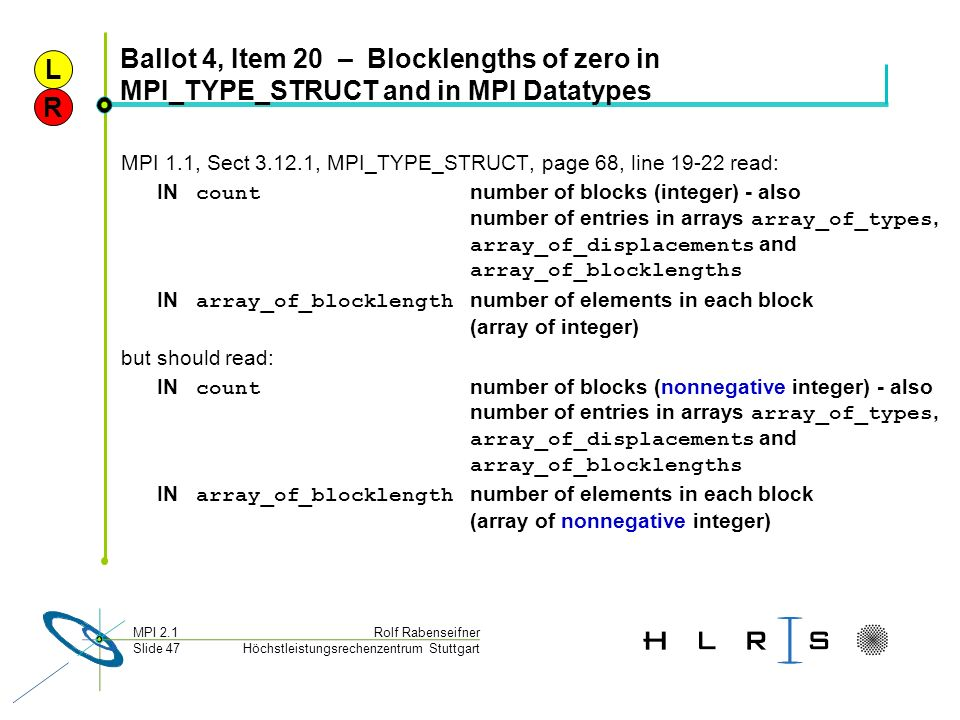 Höchstleistungsrechenzentrum Stuttgart Rolf RabenseifnerMPI 2.1 Slide 47 Ballot 4, Item 20 – Blocklengths of zero in MPI_TYPE_STRUCT and in MPI Dataty