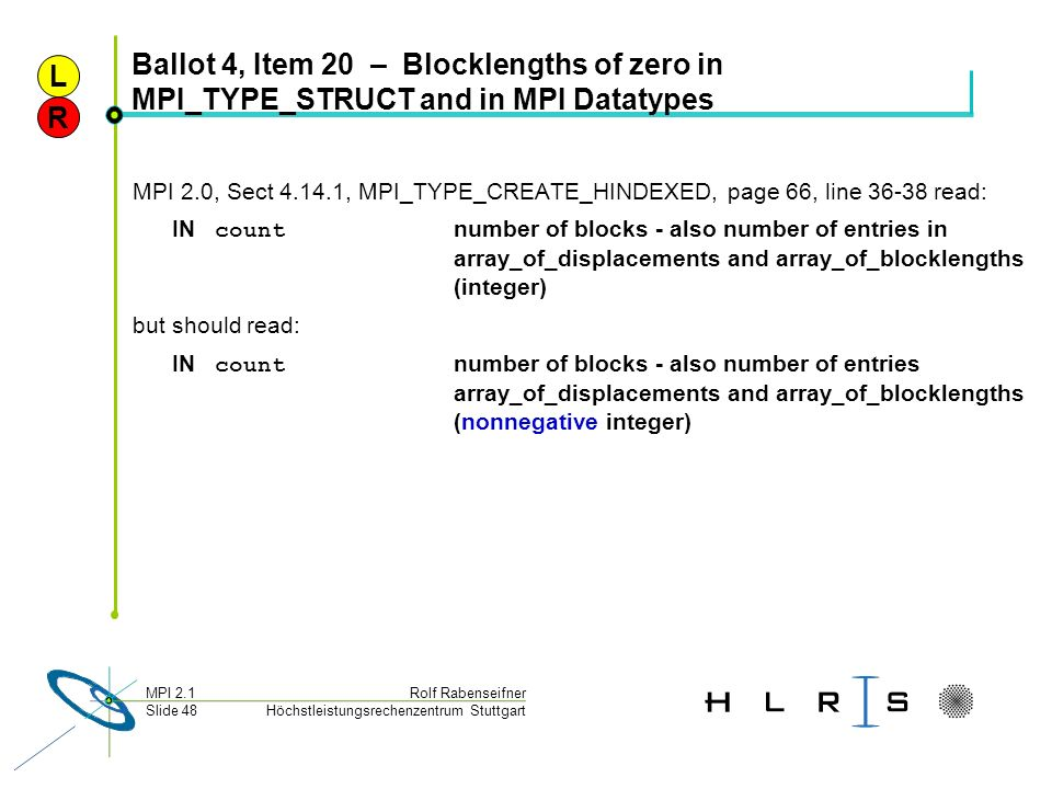 Höchstleistungsrechenzentrum Stuttgart Rolf RabenseifnerMPI 2.1 Slide 48 Ballot 4, Item 20 – Blocklengths of zero in MPI_TYPE_STRUCT and in MPI Dataty