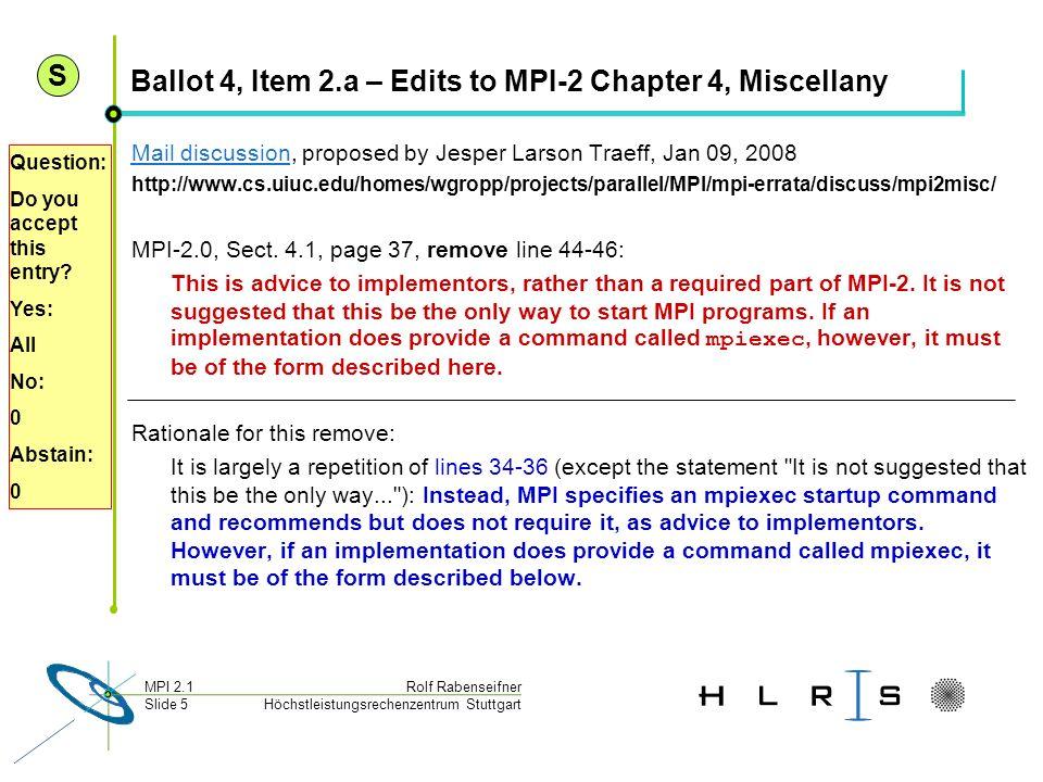 Höchstleistungsrechenzentrum Stuttgart Rolf RabenseifnerMPI 2.1 Slide 5 Ballot 4, Item 2.a – Edits to MPI-2 Chapter 4, Miscellany Mail discussionMail