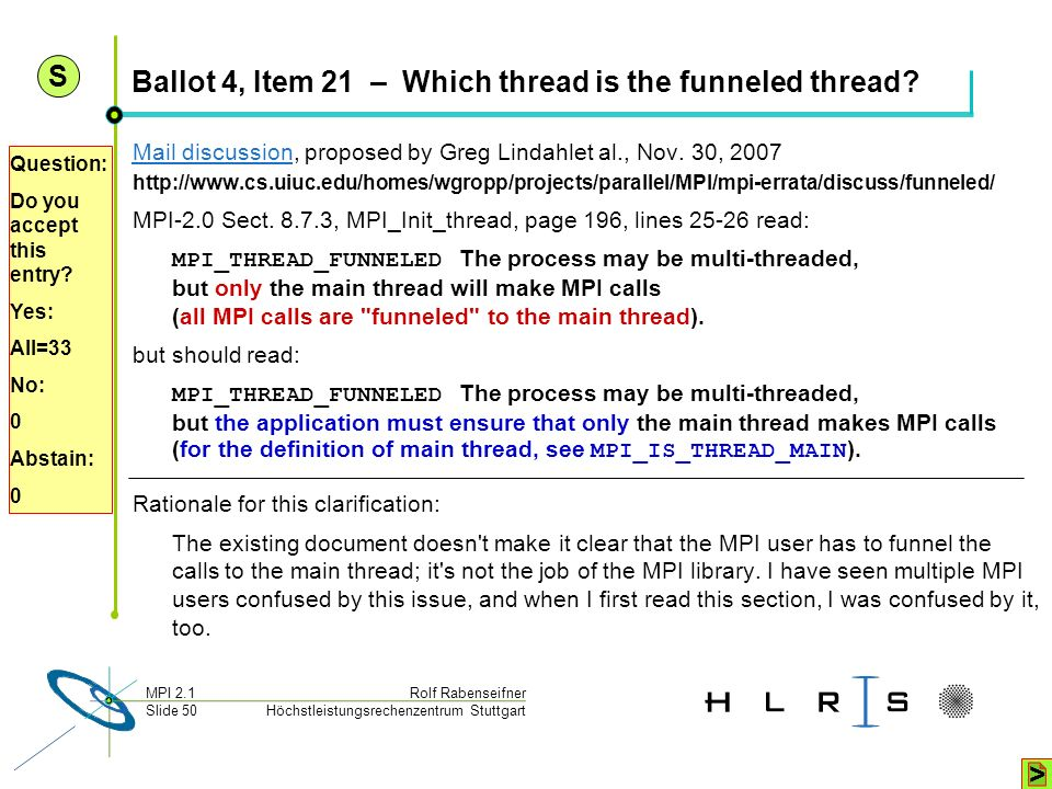 Höchstleistungsrechenzentrum Stuttgart Rolf RabenseifnerMPI 2.1 Slide 50 Ballot 4, Item 21 – Which thread is the funneled thread? Mail discussionMail