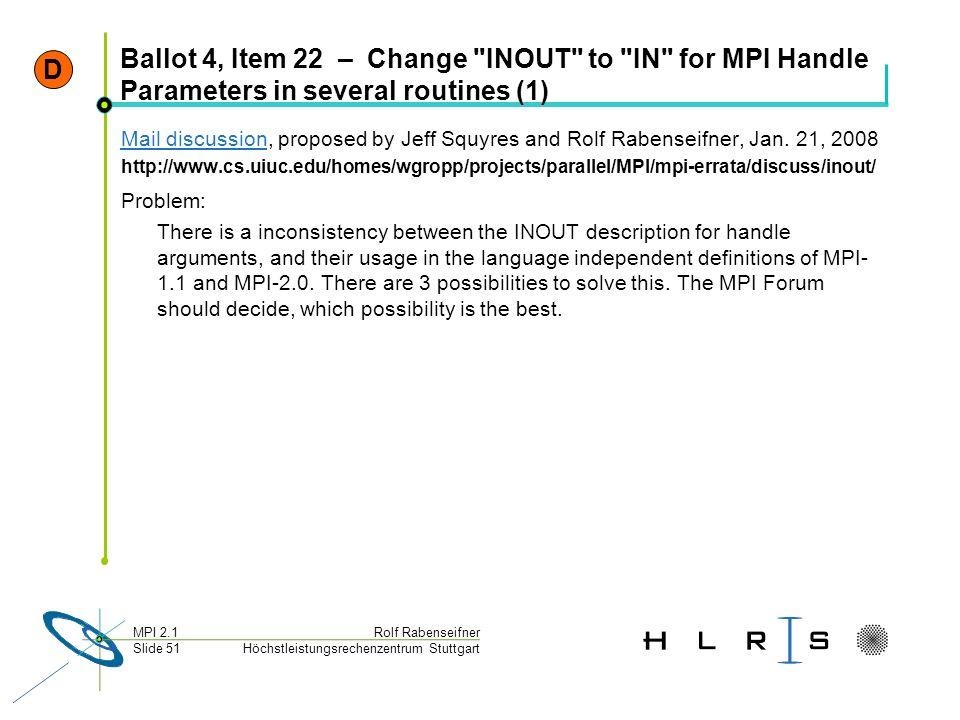 Höchstleistungsrechenzentrum Stuttgart Rolf RabenseifnerMPI 2.1 Slide 51 Ballot 4, Item 22 – Change