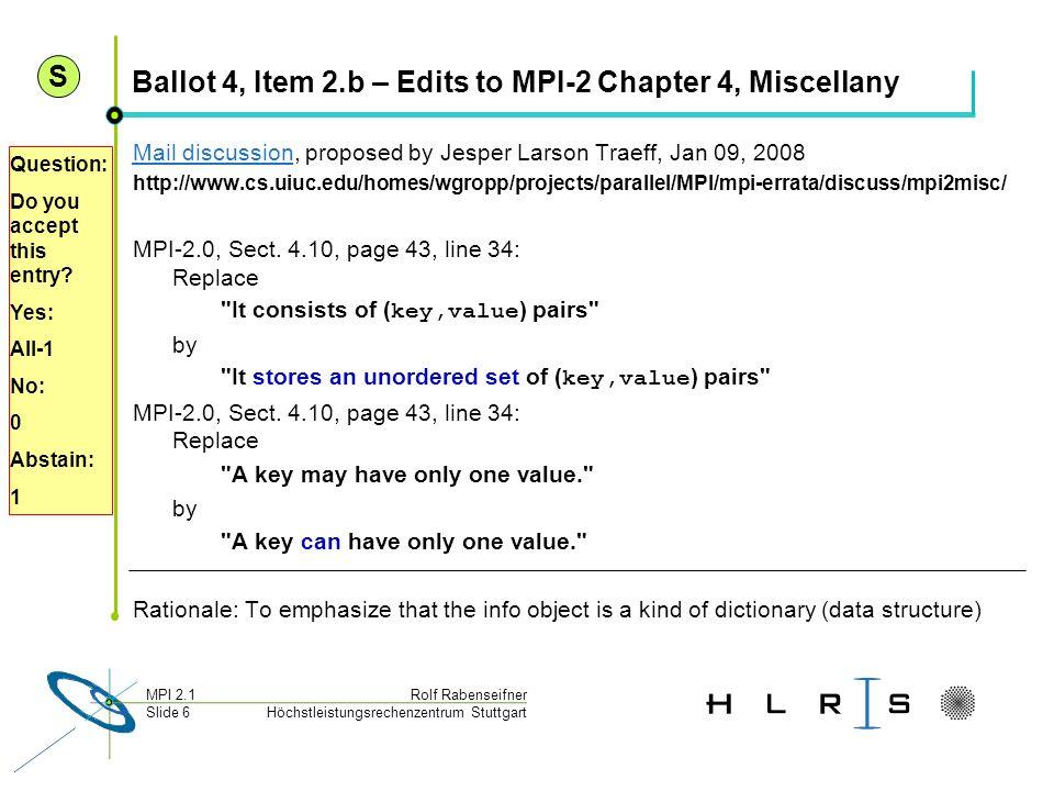 Höchstleistungsrechenzentrum Stuttgart Rolf RabenseifnerMPI 2.1 Slide 6 Ballot 4, Item 2.b – Edits to MPI-2 Chapter 4, Miscellany Mail discussionMail