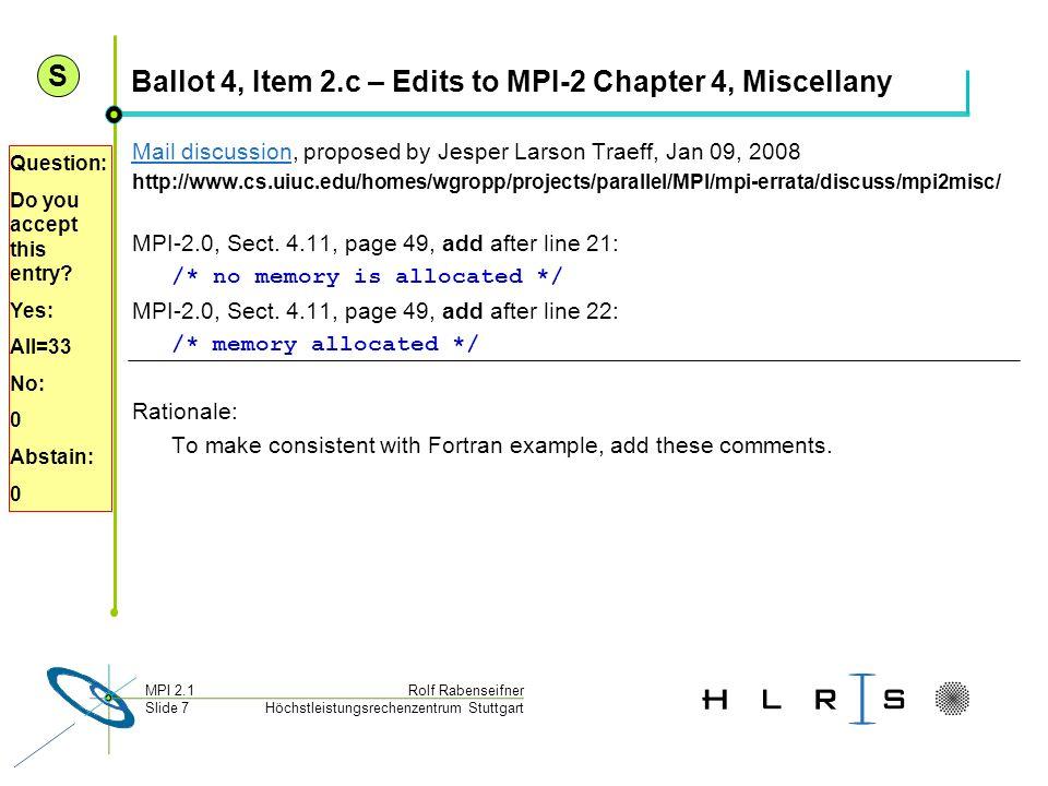Höchstleistungsrechenzentrum Stuttgart Rolf RabenseifnerMPI 2.1 Slide 7 Ballot 4, Item 2.c – Edits to MPI-2 Chapter 4, Miscellany Mail discussionMail